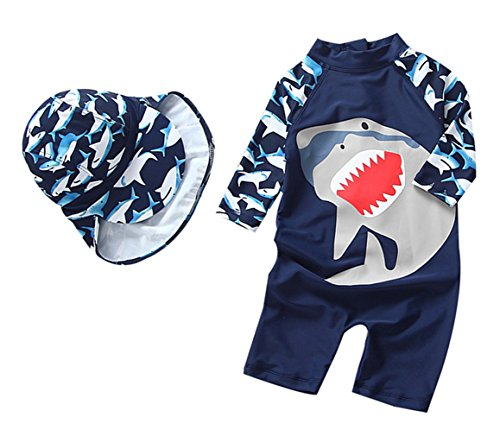 TAIYCYXGAN Baby Boys Swimsuit One Piece Toddlers Zipper Bathing Suit Swimwear With Hat Rash Guard Surfing Suit UPF 50+ Navy 12-18M