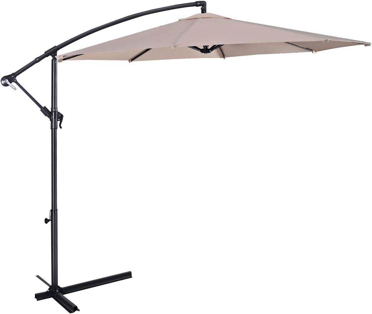Casart 10ft Patio Umbrella, Hanging Umbrella with Cross Base and 8 Steel Rips, Sun Shade Umbrella, Beige