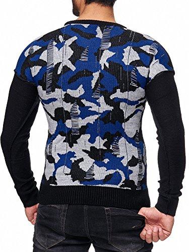 Longues shirt Pull Bleu Manches Redbridge Moda Sweat Détruit Hommes Rond Col Camoufler v1BxEw