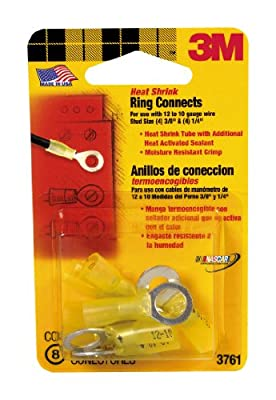 3M 3761 12 to 10-Gauge Heat Shrink Ring Electrical Connectors, Yellow, 8-Pack