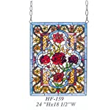 HF-159 Rural Vintage Tiffany Style Stained Church Art Glass Decorative Luxury Red Roses Rectangle Window Hanging Glass Panel Suncatcher, 24''H18.5''W
