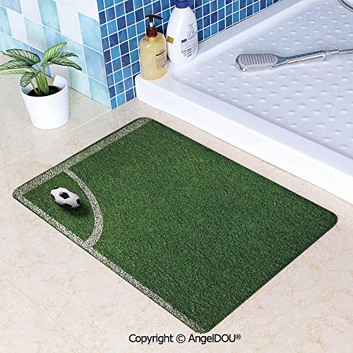SCOXIXI Printed Non Slip Entry Door Mat Bathroom Carpet Soccer Ball in Corner Kick Position Football Field top View Grass Lawn Terrain Area Rugs for Dining Room Living Room Kitche W19.6xL31.5(inch)