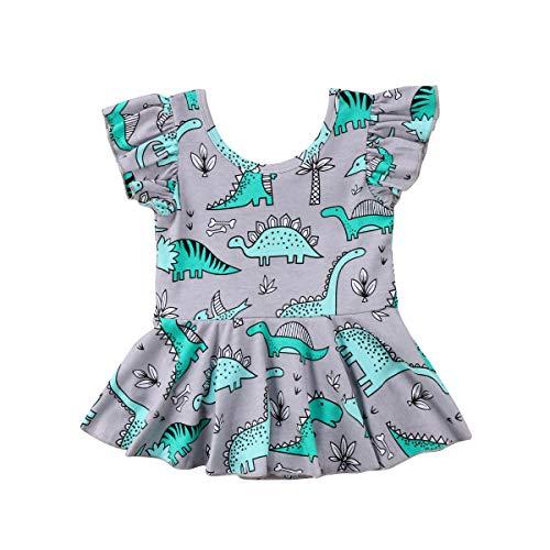 hirigin Baby Girl Valentine's Day Dress Heart Dinosaur Long Sleeve Holiday Dress (Grey, -