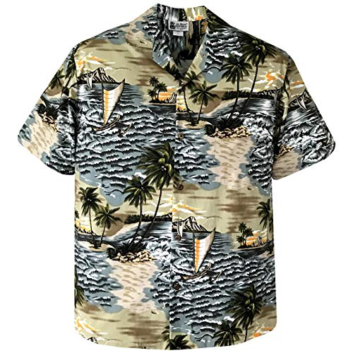 Large Olive Outrigger Canoe Voyager Hawaiian Aloha Shirt