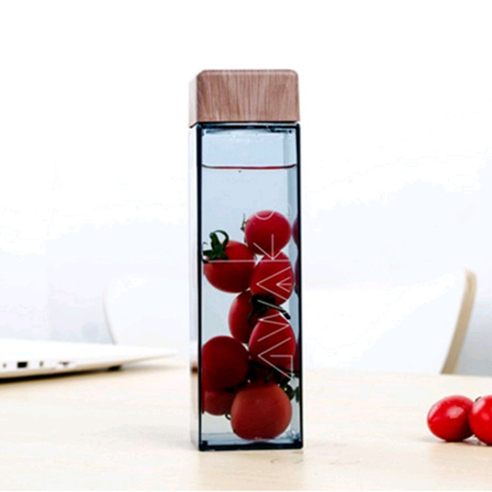 Jia Jia Trade Square Water Bottle With Wood Grain Lid 15oz Durable Plastic by Jia Jia Trade (Image #5)