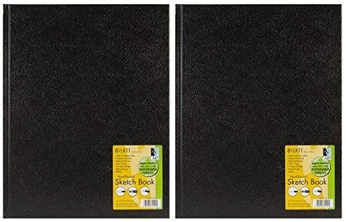 2-Pack - Black Hardbound Sketch Book 8.5 x 11 by Art Alternatives