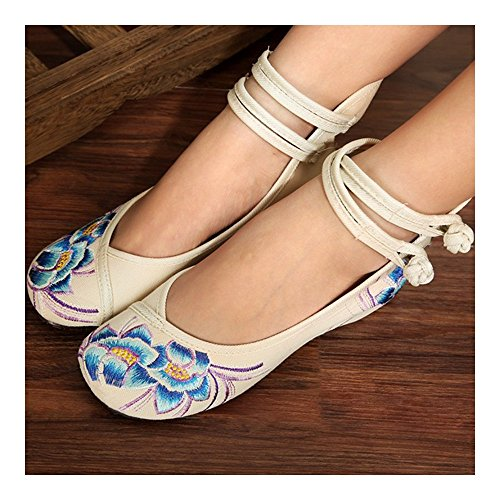 white Old Embroidered 38 Small Shoes Shoes White Cloth Beijing zPx0xvZw