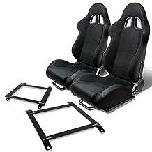 Pair of RST1SBK Racing Seats+Mounting Bracket for Mazda Miata w/Bucket Seat