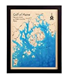 Long Island Sound in Westchester Nassau Queens Bronx New London CT, NY - Print Map 14 x 18 IN - Multicolor print framed nautical chart and topographic depth map.