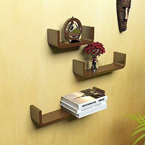 Artesia Wooden Brown U Shape Floating Wall Rack Shelves Set Of 3