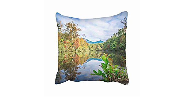 Amazon Com Emvency Blue Appalachia South Carolina Autumn Sunrise Landscape Table Rock Fall Foliage Reflections Blue Ridge Sky Throw Pillow Covers 18x18 Inch Decorative Cover Pillowcase Cases Case Two Side Home Kitchen