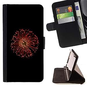 BullDog Case - FOR/Apple Iphone 6 / - / Red Flower Macro /- Monedero de cuero de la PU Llevar cubierta de la caja con el ID Credit Card Slots Flip funda de cuer