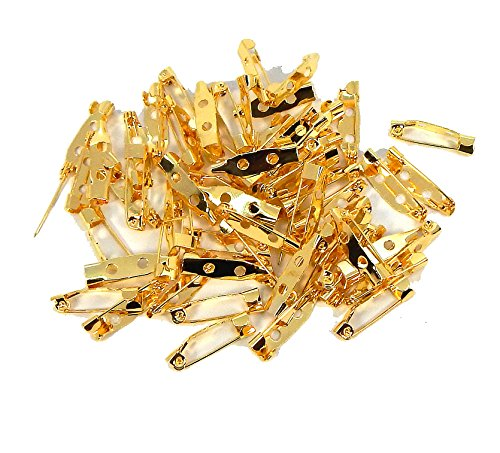 Rockin Beads 144 Bar 3/4 Inch 20mm Pin Backs Clasp Gold Plated Broach Name Badge Parts