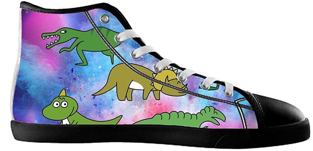 BrowneOLp Canvas Mens Shoes Shoes with Dinosaur High Top Canvas Mens Shoes