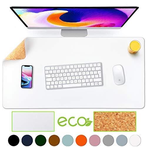 Aothia umweltfreundliche Naturkork & Leder doppelseitige Schreibtischmatte 80 * 40 cm Mauspad glatte Oberfläche weich einfach sauber wasserdicht PU-Leder Schreibtischschutz für Büro/Heimspiele(white)