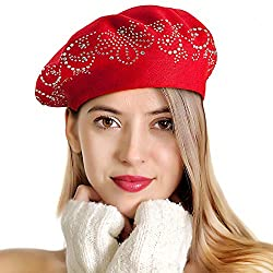 Red Rhinestones 2 Layers Wool French Hat