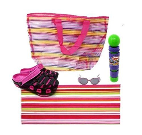 Price comparison product image Beach Towel, Beach Bag, Kids Sunglasses, Kids Clogs, Pool Toy: Foam Pumper 5 Piece Bundle(Pink, Size J3)