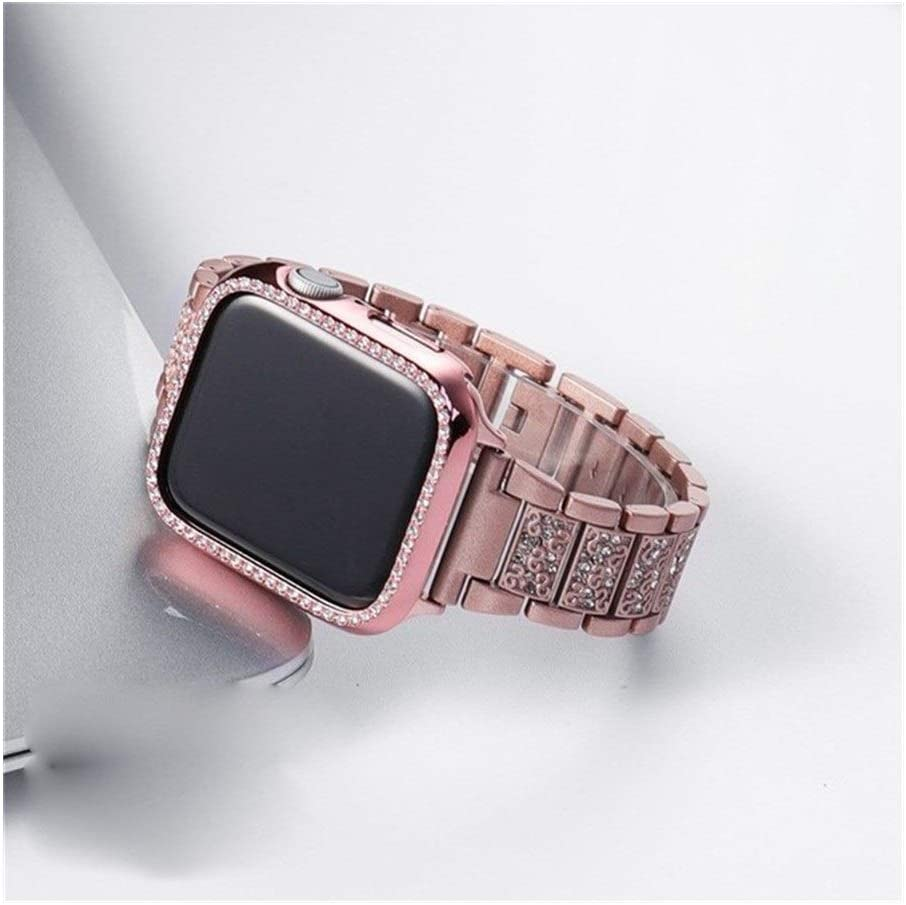Fashion Compatible with Apple Watch Bands 38mm 40mm 42mm 44mm, Stainless Steel Replacement Strap Compatible for Iwatch Series 5/4/3/2/1 Non-Slip (Color : Pink Gold, Size : 38mm)