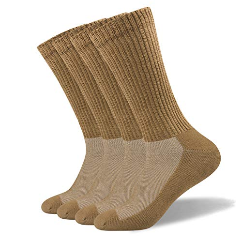 Well Knitting Men's Non-Binding Diabetic and Circulatory Extra Wide Top Coolmax Crew Socks with Seamless Toe and Cushion Sole,4 Pairs (L, Camel) ()