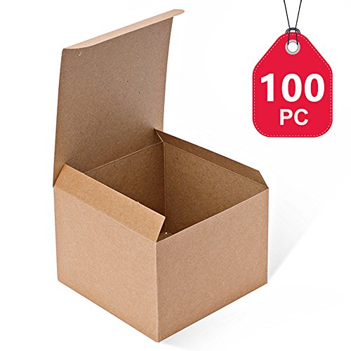 MESHA Kraft Boxes 100 Pack 5 x 5 x 3.5 Inches, Brown Paper Gift Boxes with Lids for Gifts, Crafting, Cupcake Boxes
