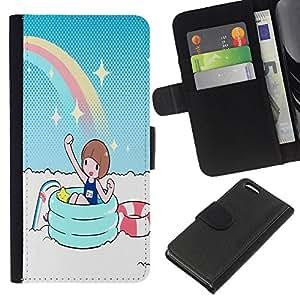 NEECELL GIFT forCITY // Billetera de cuero Caso Cubierta de protección Carcasa / Leather Wallet Case for Apple Iphone 5C // Partido del arco iris