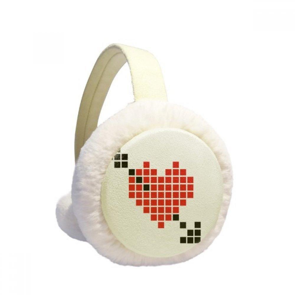 Valentines Arror Pierce via Heart Pixel Winter Earmuffs Ear Warmers Faux Fur Foldable Plush Outdoor Gift