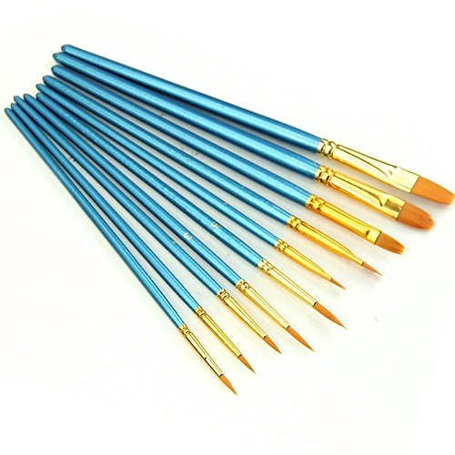 10Pieces Nylon Hair Paint Brushes Art Set for Watercolor, Oil and Acrylic Paints -Small Size Round Pointed Painting Supplies(Blue)