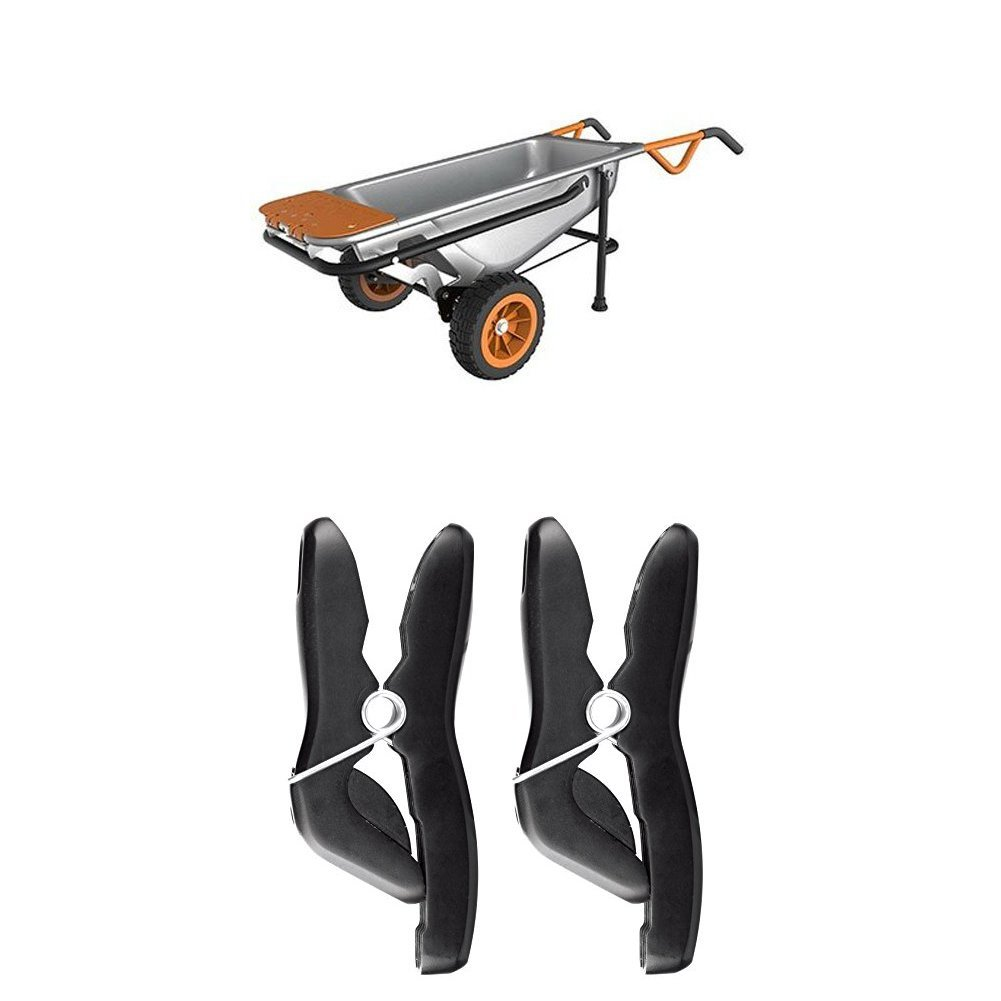 WORX WG050 Aerocart Multifunction Wheelbarrow, Dolly and Cart with WA0235 Stick/Tool Holders