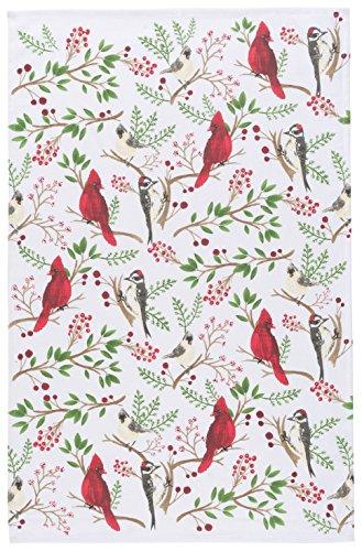 (Now Designs 2177257 Cotton Kitchen Towel, Winter Birds Print,)