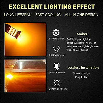 4-Pack 921 912 T15 922 W16W Amber/Yellow 800 lumens 12V-18V Extremely Bright Non-Polarity Canbus Error Free 4014 Chipsets LED Bulbs For Side Marker Dome Map Light Blinker Bulb Backup Reverse Light: Automotive