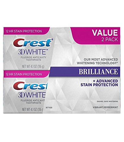 Crest 3D White Brilliance Vibrant Peppermint Toothpaste, 4.1 oz Twin Pack (Mint Toothpaste White)