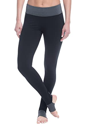 65c37afc36539 Gaiam Women's Om Panel Barre Legging Performance Spandex Compression  Stirrup Pant - Black Tap, X