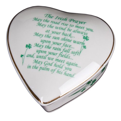 Irish Prayer White Porcelain Heart Jewelry Box Porcelain Heart Jewelry