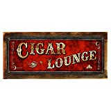 "Cheap Wood-Framed, Red Cigar Lounge Metal Sign, Framed 4""x12"", Art Deco, Vintage, Retro, Game Room, Den, Wall Décor, Hand-Made"
