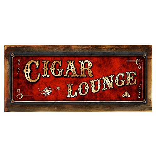 "Wood-Framed, Red Cigar Lounge Metal Sign, Framed 6""x16"