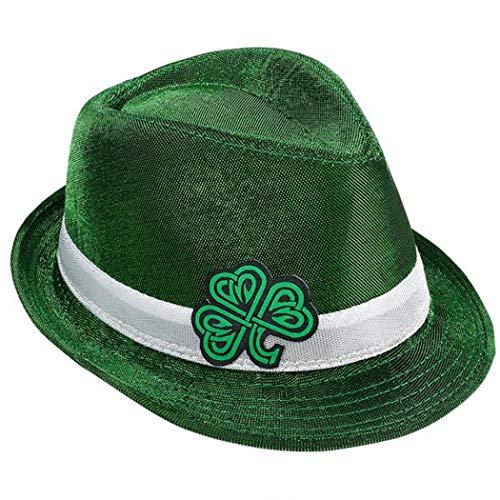 Rhode Island Novelty Adults Saint Patrick's Day Irish Celtic Shamrock Fedora Hat Costume Accessory Green/White]()