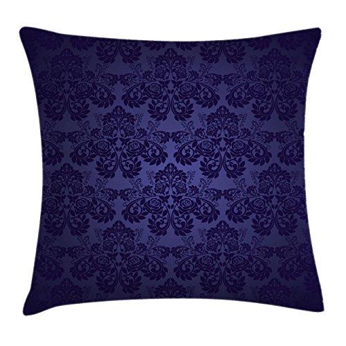 Lunarable Dark Purple Throw Pillow Cushion Cover, Royal Floral Damask Motifs Antique Design Vintage Victorian Artistic Print, Decorative Accent Pillow Case, 36 X 16 Inches, Dark Purple - Print Floral Victorian