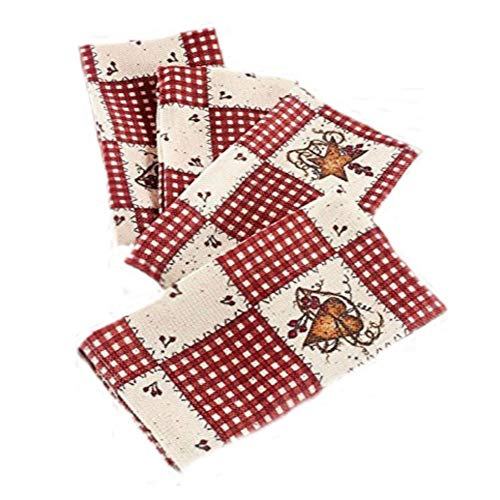 Linda Spivey Kitchen Decor Table Cloth Linens Primitive Country Hearts Stars TableCloth or Napkins Kitchen Collection (Set of 4 Napkins) - Linda Spivey Hearts