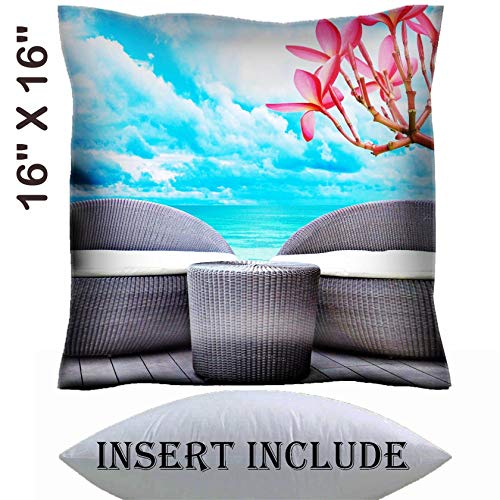 16x16 Throw Pillow Cover with Insert - Satin Polyester Pillow Case Decorative Euro Sham Cushion for Couch Bedroom Handmade Rattan seat lounge beside the sea Image 18820060 Customized Tablemats Sta ()