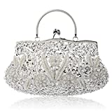 SIMANLI Polyester Beaded Women's Handbag Clutch, Evening Bag Clutch, Clutch Purse Shoulder Bag for Party Wedding Prom Ball (Silver)