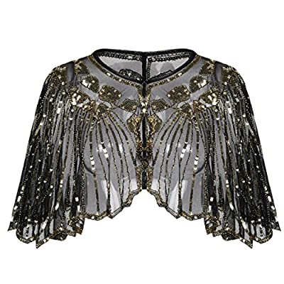 Kayamiya Women's 1920s Shawl Sequin Beaded Art Deco Wedding Cape Evening Wrap