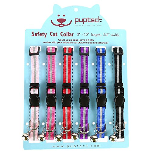 PUPTECK 6PCS Reflective Breakaway Cat Collar – Safety Kitten Collars with Bell