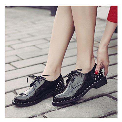 Hoxekle Vrouwen Klinknagel / Geperforeerde Kant / Britse Stijl / Platform Oxford Schoenen / Vintage Oxford Schoenen / Plat Zwart