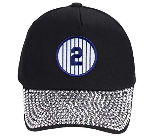 (Derek Jeter #2 Hat - NY Baseball Adjustable Womens Cap (Black Rhinestone))