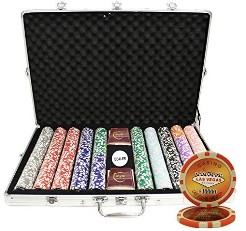 MRC 1000pcs Las Vegas Casino Laser Poker Chips Set with Aluminum Case Custom Build Custom Poker Chips Las Vegas