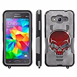 [ArmorXtreme] Case for SAMSUNG GALAXY GRAND PRIME G530 [Black/Gray] [Xtreme Armor Combat Duty Case with KickStand] - [Red Skull]