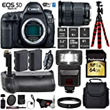 Canon EOS 5D Mark IV DSLR Camera with 24-105mm is STM Lens + Battery Grip + UV Protection Filter + Flash + Extra Battery + Case + Wrist Strap + Tripod + Card Reader - International Version