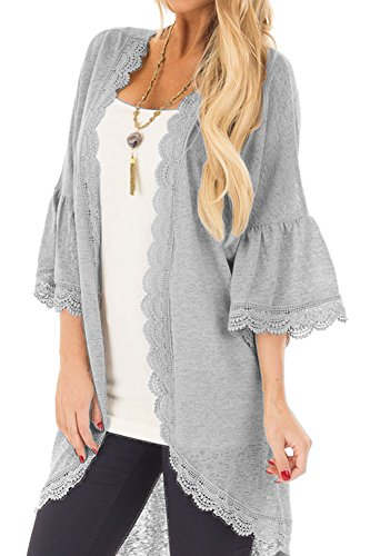 Womens Summer Open Front 3/4 Bell Sleeve Cover Up Solid Color Sheer Lace Beach Kimono Cardigan Grey M