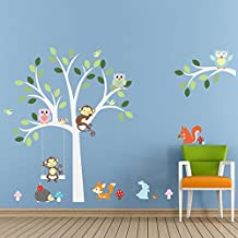 ElecMotive Cartoon Forest Animal Monkey Owls Fox Rabbits Hedgehog Tree Swing Nursery Wall Stickers Wall Murals DIY Posters Vinyl Removable Art Wall Decals for Kids Girls Room Decoration (Monkey Owls)