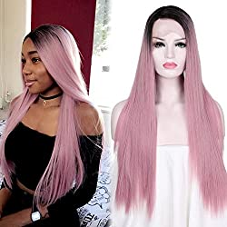 Women long Straight Pink Wig Ombre Synthetic Wig Baby Pink Lace Wig Dark Roots 2 Tones Side Part Natural Look Glueless Cosplay Wig Heat Resistant Fiber Full Hair with Free Wig Cap